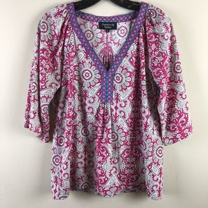 Feathers by Tolani women's top sz small paisley